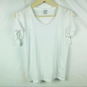J Crew Basic White Tee Tie Sleeves Size XS